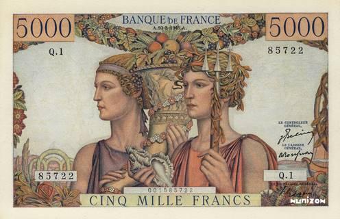 5000 francs Type 1949 Terre et Mer Pick##131