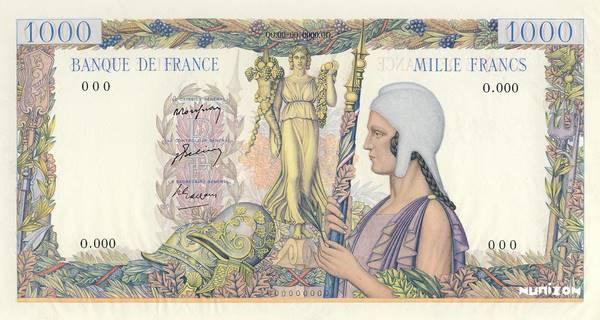 """1000 francs Type 1947 Les trophées """"non émis"""" Pick#NA"""