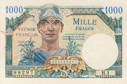 1000 francs Trésor Français Type 1947 Pick##M10