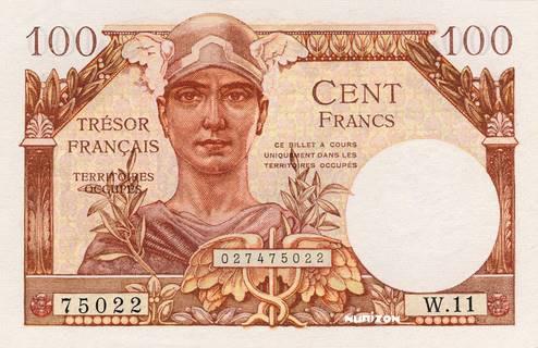 100 francs Trésor Français Type 1947 Pick##M9