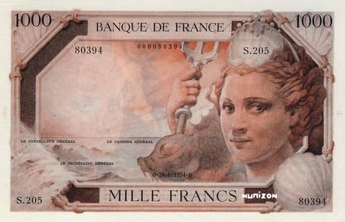 1000 francs Type 1953 Richelieu Pick##134