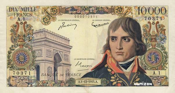 10000 francs Type 1955 Bonaparte Pick##136