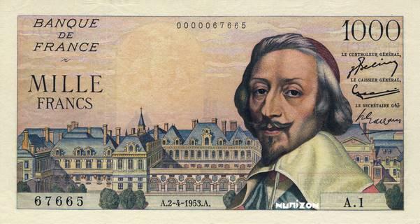 "1000 francs Type 1954 Amphitrite ""non émis"" Pick#NA"