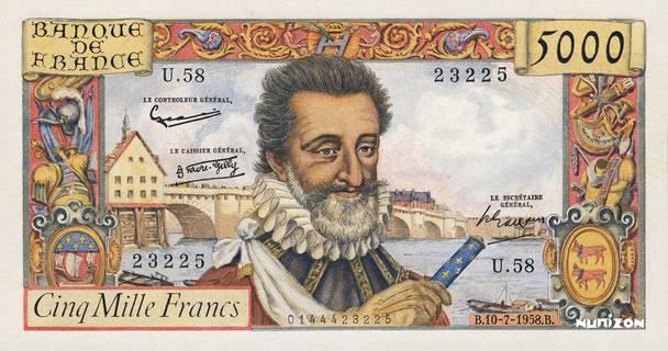 5000 francs Type 1957 Henri IV Pick##135