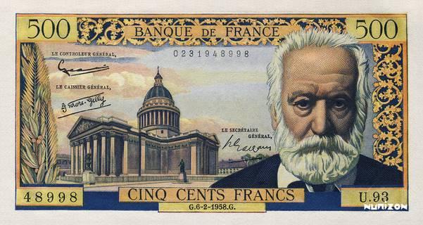 500 francs Type 1953 Victor Hugo Pick##133
