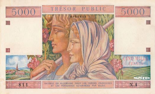5000 francs Trésor Public Type 1955 Pick##M13