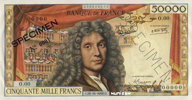 """50000 francs Type 1957 Molière """"non émis"""" Pick##136A"""