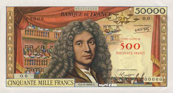 500 NF/50000 francs Type 1957 non émis Pick##140A