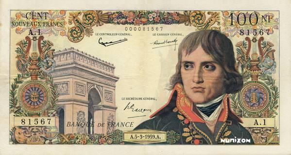 100 nouveaux francs Type 1959 Bonaparte Pick##144