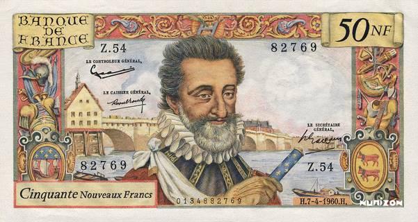 50 nouveaux francs Type 1959 Henri IV Pick##143