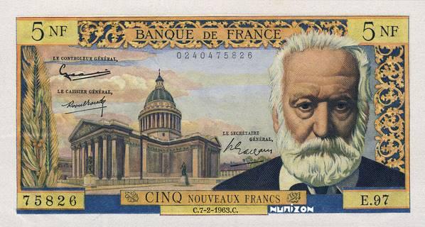 5 nouveaux francs Type 1959 Victor Hugo Pick##141