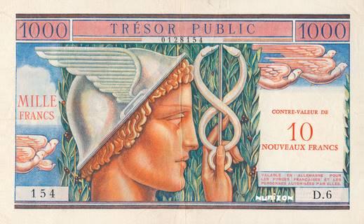 10NF/1000 francs Trésor Public Type 1960 Pick##M14A