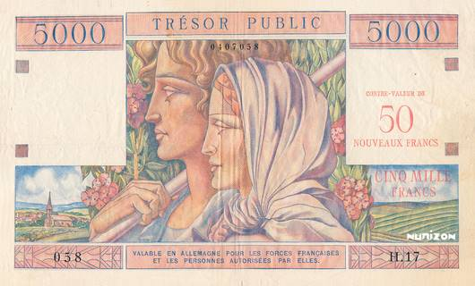 50 NF/5000 francs Trésor Public Type 1960 Pick##M15
