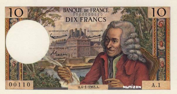 10 francs Type 1963 Voltaire Pick##147