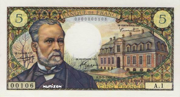 5 francs Type 1966 Pasteur Pick##146