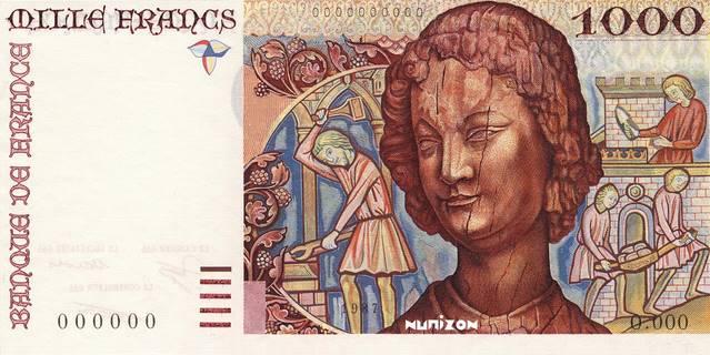 "1000 francs Type 1980 Art médiéval ""non émis"" Pick#NA"