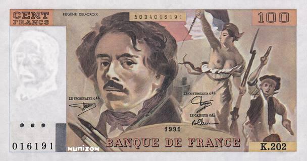 100 francs Type 1978 Delacroix Pick##153/#154