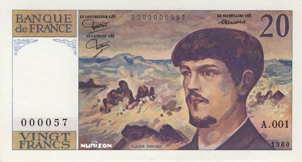 20 francs Type 1980 Debussy Pick##151