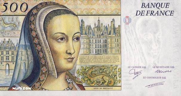 "500 francs Type 1987 Renaissance ""non émis"" Pick#NA"