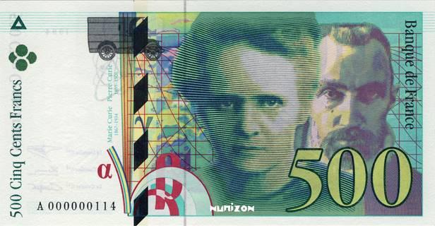 500 francs Type 1993 Pierre et Marie Curie Pick##160
