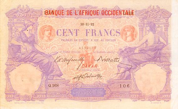 100 francs Type 1892 surchargé « BAO » Pick##3
