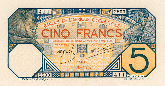 5 francs Dakar Type 1916 Pick##5B