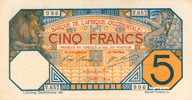 5 francs Porto-Novo Type 1916 Pick##5E