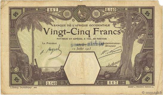 25 francs Grand-Bassam Type 1923 Pick##6D