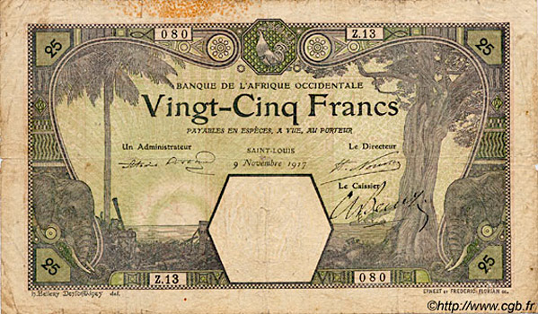 25 francs Saint-Louis Type 1905 Pick##7F