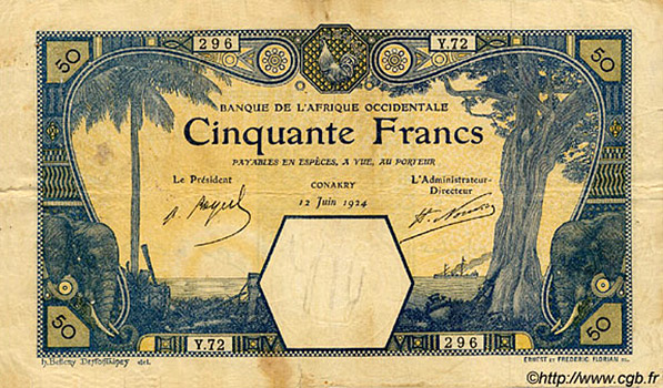 50 francs Conakry Type 1916 Pick##9A