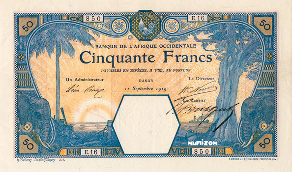 50 francs Dakar Type 1919 Pick##9B