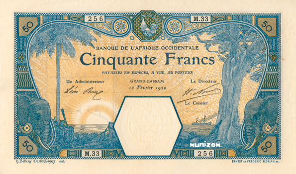 50 francs Grand-Bassam Type 1902 Pick##9D