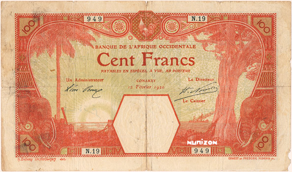 100 francs Conakry Type 1920 Pick##10A