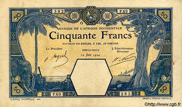 50 francs Porto-Novo Type 1920 Pick##10E
