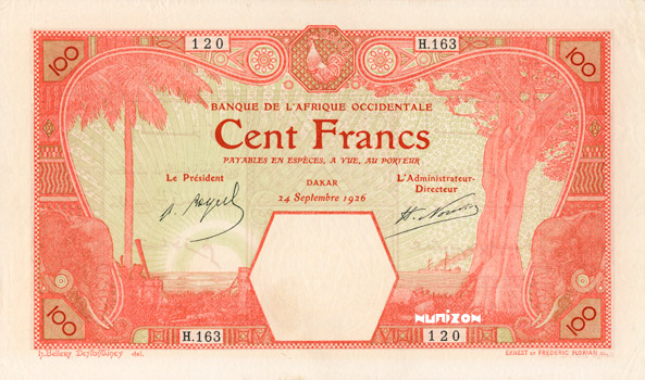 100 francs Dakar Type 1920 Pick##10B/#11B