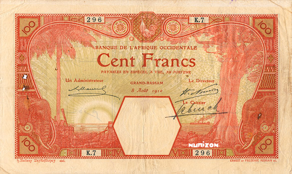 100 francs Grand-Bassam Type 1916 Pick##11D