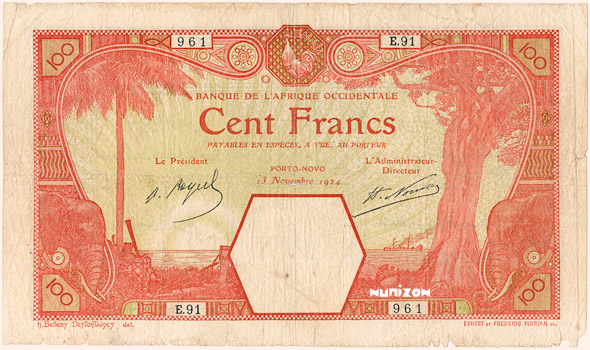 100 francs Porto-Novo Type 1920 Pick##11E