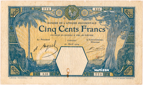 500 francs Conakry Type 1912 Pick##13A