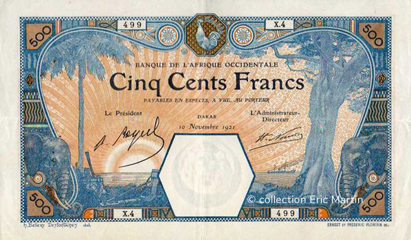 500 francs Dakar Type 1919 Pick##13B