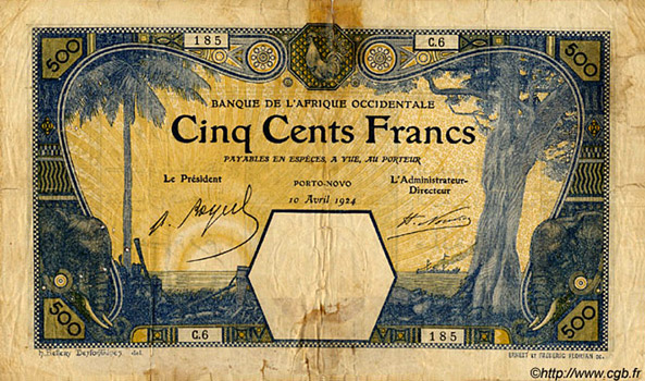 500 francs Porto-Novo Type 1921 Pick##13E