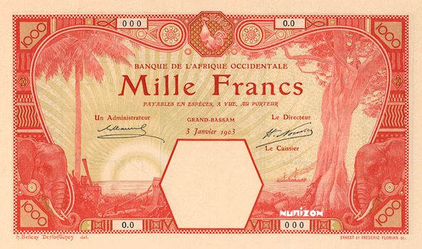 1000 francs Grand-Bassam Type 1924 Pick##14D