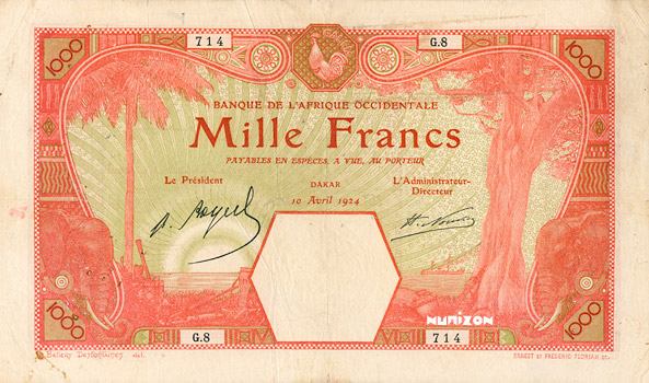 1000 francs Dakar Type 1919 Pick##15B