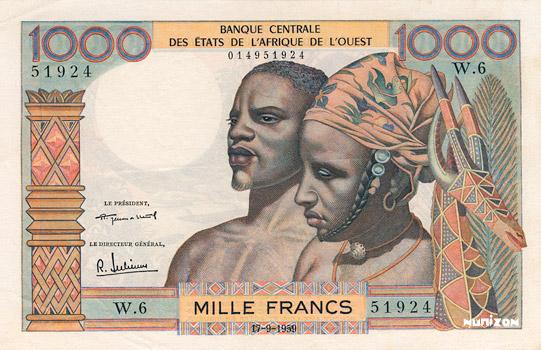 1000 francs Type 1959 Pick##4
