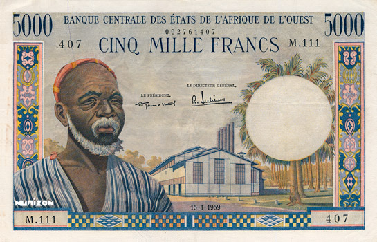 5000 francs Type 1959 Pick##5