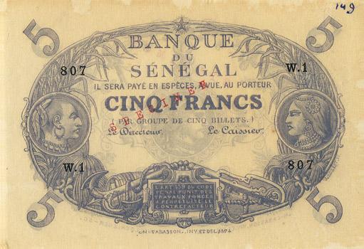 5 francs Type 1874 Pick##PA1