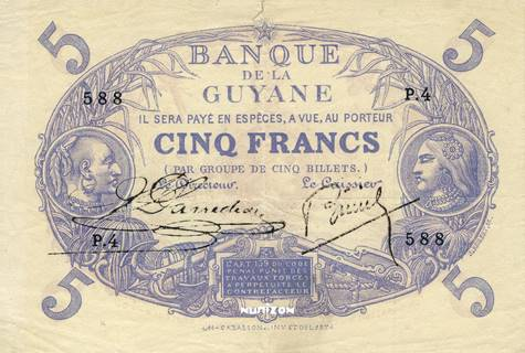 5 francs Bleu Type 1874 Pick##1