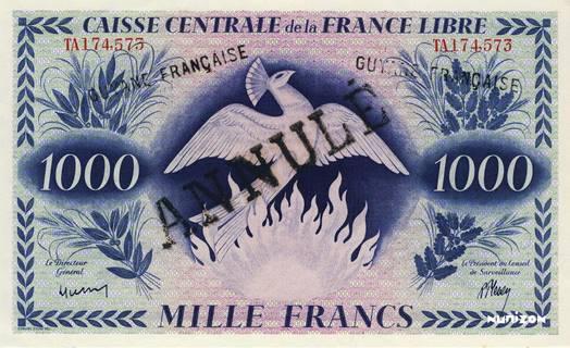 1000 francs France libre Type 1943  (GB) Pick##16A