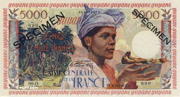 5000 francs Antillaise Type 1955  Pick##28