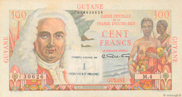 1 NF/100 francs La Bourdonnais Type 1946  Pick##29