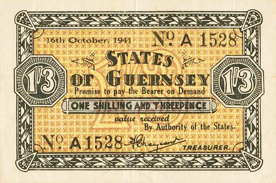 1 shilling 3 pence Type 1941 Pick##23